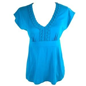 Banana Republic Top XS Turquoise Blue V-neck Shirt